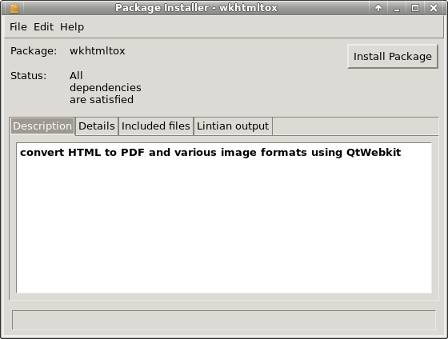 GDebi Package Installer loaded with wkhtmltox