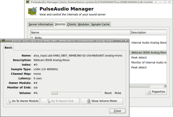 Hardware sampling rate shown by PulseAudio Manager