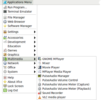 PulseAudio Manager and Volume Control entries in Applications Menu