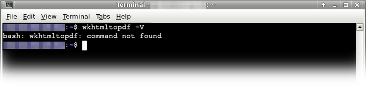 terminal shows wkhtmltopdf not present